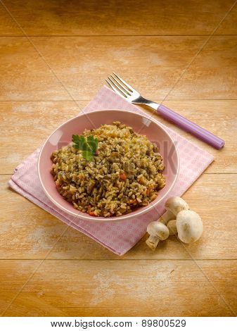 risotto with ragout and mushroom