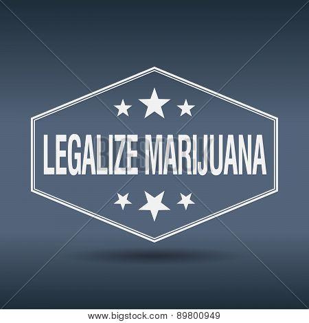 Legalize Marijuana Hexagonal White Vintage Retro Style Label