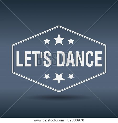 Let's Dance Hexagonal White Vintage Retro Style Label