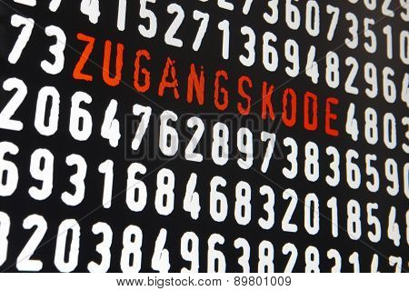 Computer Screen With Zugangskode Text And Numbers On Black Background