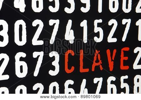 Computer Screen With Clave Text And Numbers On Black Background