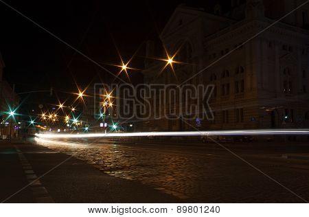 Track Of Cars On Street Of Lviv