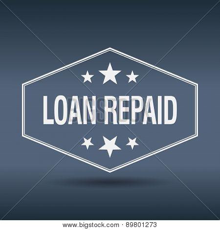 Loan Repaid Hexagonal White Vintage Retro Style Label