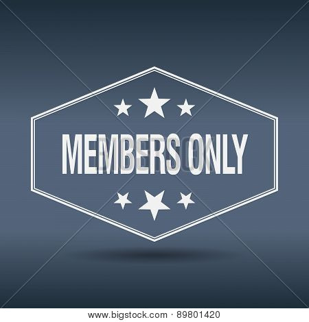Members Only Hexagonal White Vintage Retro Style Label