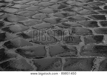 Wet Cobble Stone Road