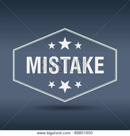 Mistake Hexagonal White Vintage Retro Style Label
