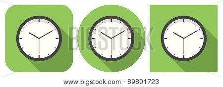 Icon of analog clock in flat design
