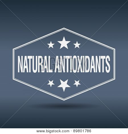 Natural Antioxidants Hexagonal White Vintage Retro Style Label