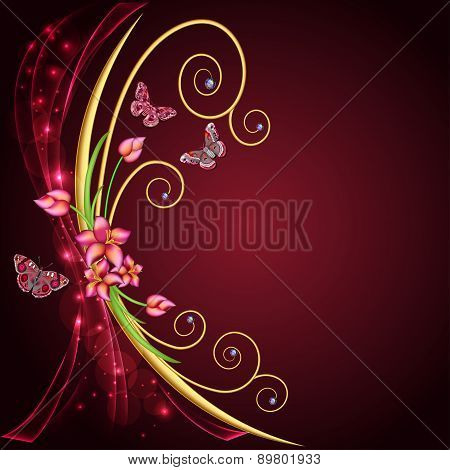 Abstract Background With Flowers And Butterflies With Gems