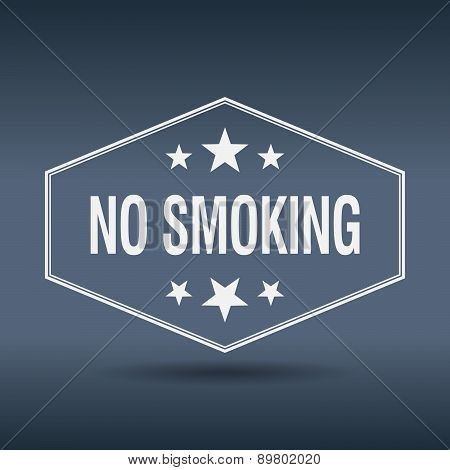 No Smoking Hexagonal White Vintage Retro Style Label