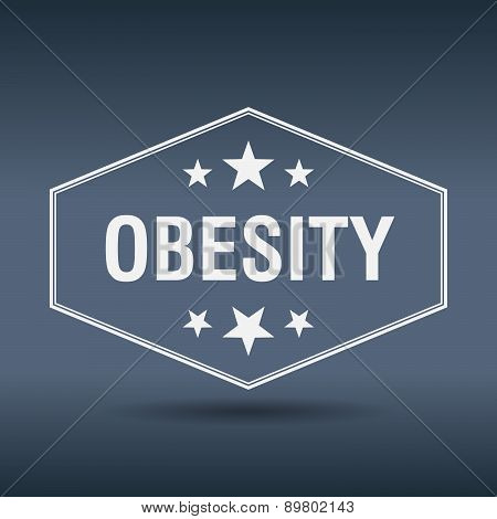 Obesity Hexagonal White Vintage Retro Style Label