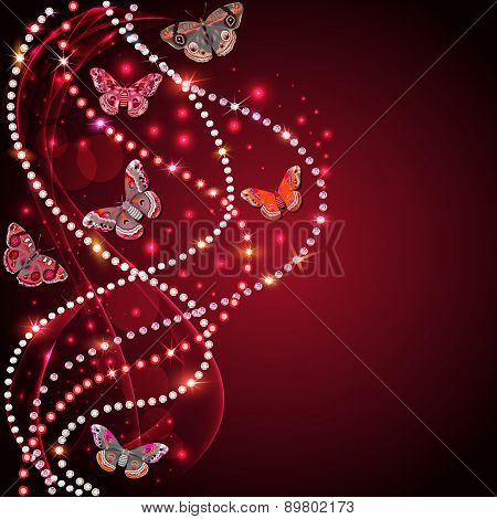 Background With Flowers And Butterflies With Gems