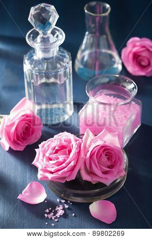 aromatherapy set with rose flowers salt and flasks