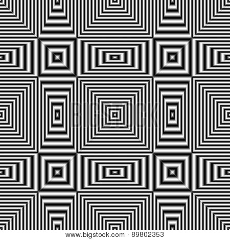 Geometric Optical Illusion Seamless Pattern With Black And White Stripes