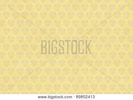 Yellow Vintage Wallpaper With Blue Flourish Ornament