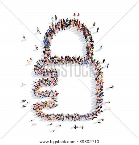 people in the form of  lock, a flash mob.