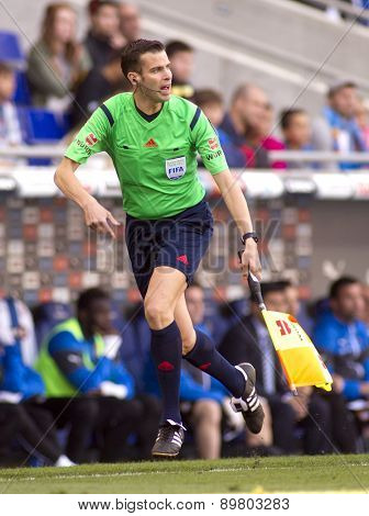 BARCELONA - APRIL, 12: Spanish assistant referee Raul Cabanero during a Spanish League match at the Power8 Stadium on April 12 2015 in Barcelona Spain