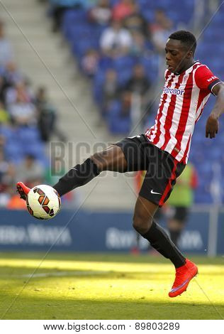 BARCELONA - APRIL, 12: Inaki Williams Dannis of Athletic Club Bilbao during a Spanish League match against RCD Espanyol at the Power8 Stadium on April 12 2015 in Barcelona Spain