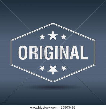 Original Hexagonal White Vintage Retro Style Label