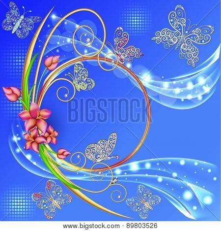 Blue Background Frame With The Circle Of Flowers And Butterflies With Gems