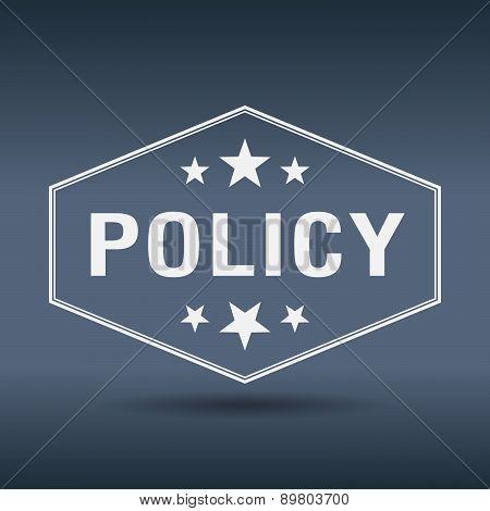 Policy Hexagonal White Vintage Retro Style Label