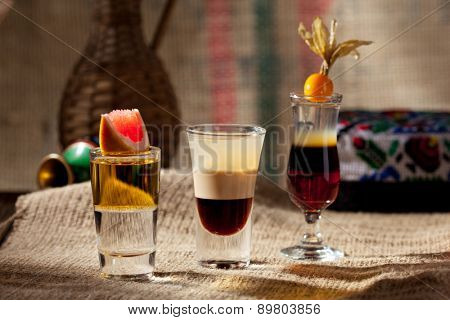 Alcohol Shot Cocktail on Sackcloth