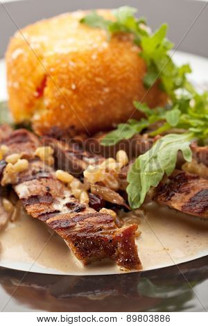 Fried Pork with Potato-Scramble Garnish and Nuts Sauce