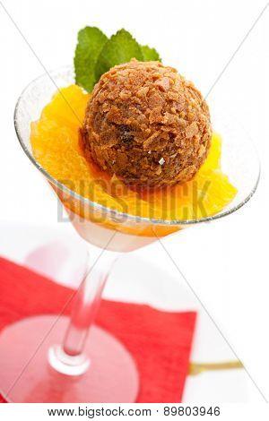 Dessert - Panna Cotta with Orange Jam, Passion Fruit and Chocolate Truffle