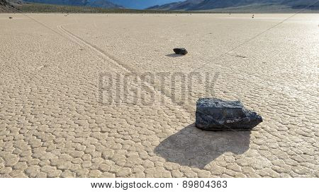 Moving stone in the desert