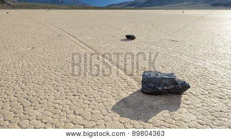 Moving stone in the desert