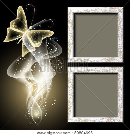 Background With Grungy Photo Frame, Butterfy And Smoke