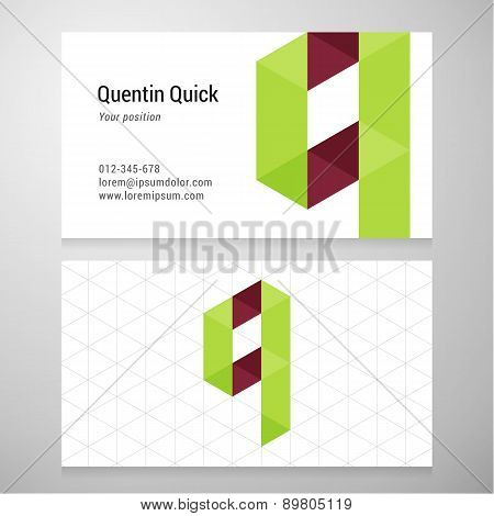 Modern Letter Q Origami Business Card Template