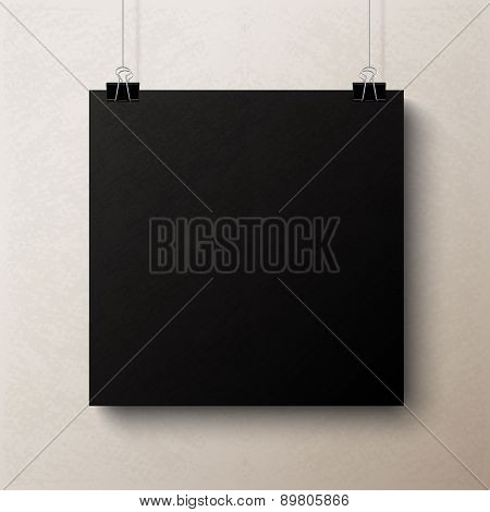 Black blank square sheet of paper, vector template