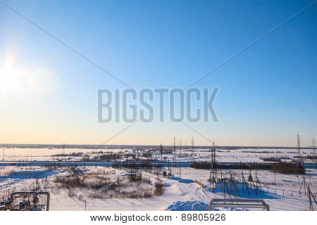 Snow field with gas pipes