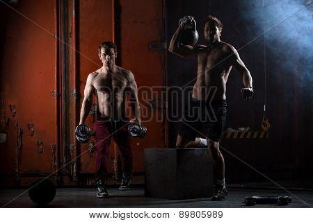 Two beautiful athlete train.