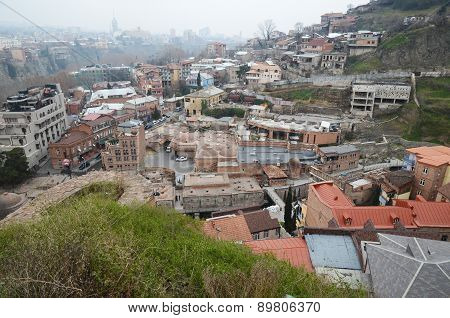 Abanotubani - Sulfur Baths district in old Tbilisi. Top view