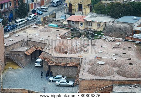 Tbilisi, Georgia-Feb,27 2015: Abanotubani - Sulfur Baths district in old Tbilisi. Top view