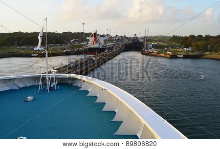 Approaching the Panama Canal on a cruise ship