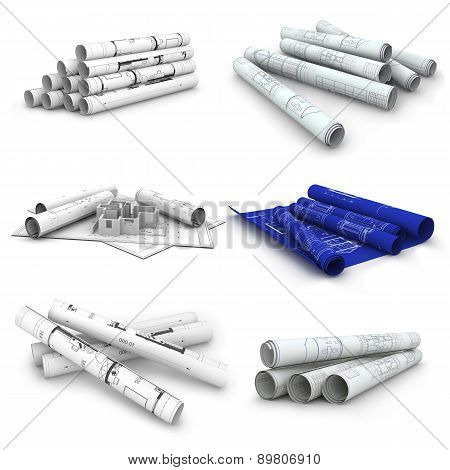 Set of Scrolls of engineering drawings. Isolated render on a white background