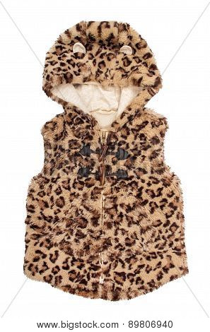Children's Fur Vest With Leopard Print On An Isolated White Background