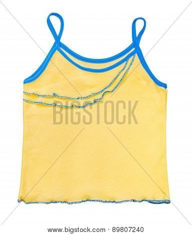 Children's Yellow Jersey For A Girl On An Isolated White Background