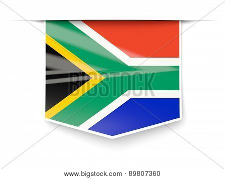 Square Label With Flag Of South Africa