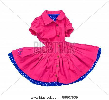 Pink Dress For Girls In Motion On A White Background