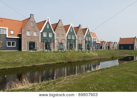 Netherlands - Volendam- Circa April 2015: Cottages In The Marina Park.