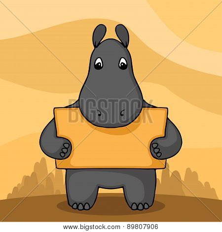 Cute hand drawn hippo with empty banner