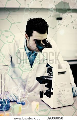 Science and medical graphic against male scientific researcher using microscope in lab