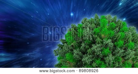 Sphere covered with forest against outer space