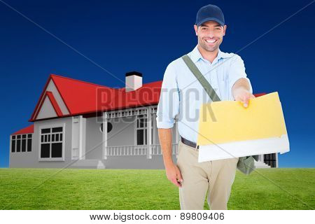 Happy postman delivering letter on white background against blue sky