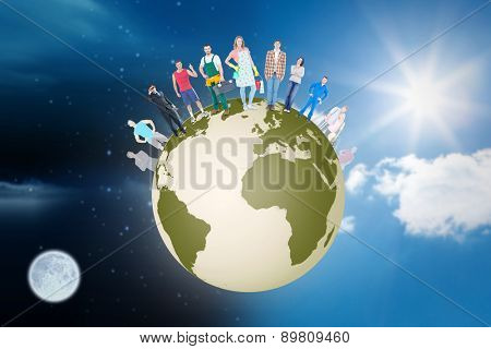 People standing on earth against sky
