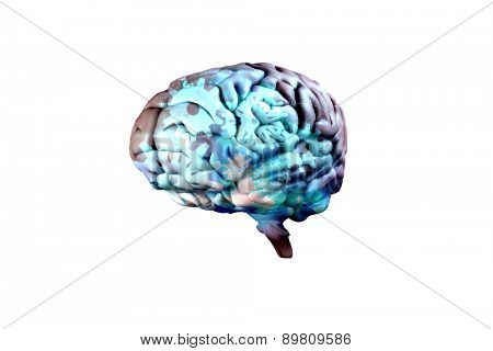 brain against blue and black cogs and wheels